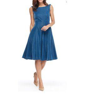 GAL MEETS GLAM Christine Velvet Bateau Neck Dress